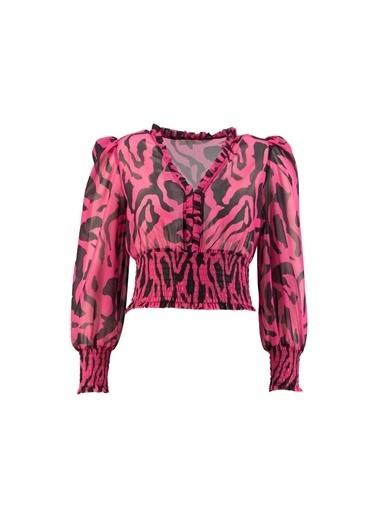 Setre Oranj V Yaka Zebra Bluz Fuşya